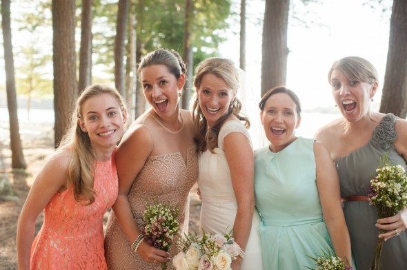 Mismatched Bridesmaid Dresses At A Rustic Wedding