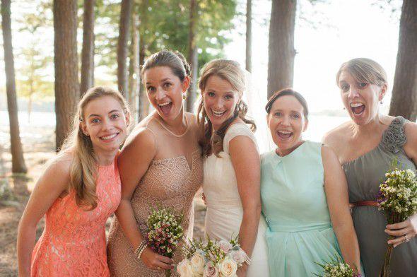 Mismatched Bridesmaid Dresses At A Rustic Wedding