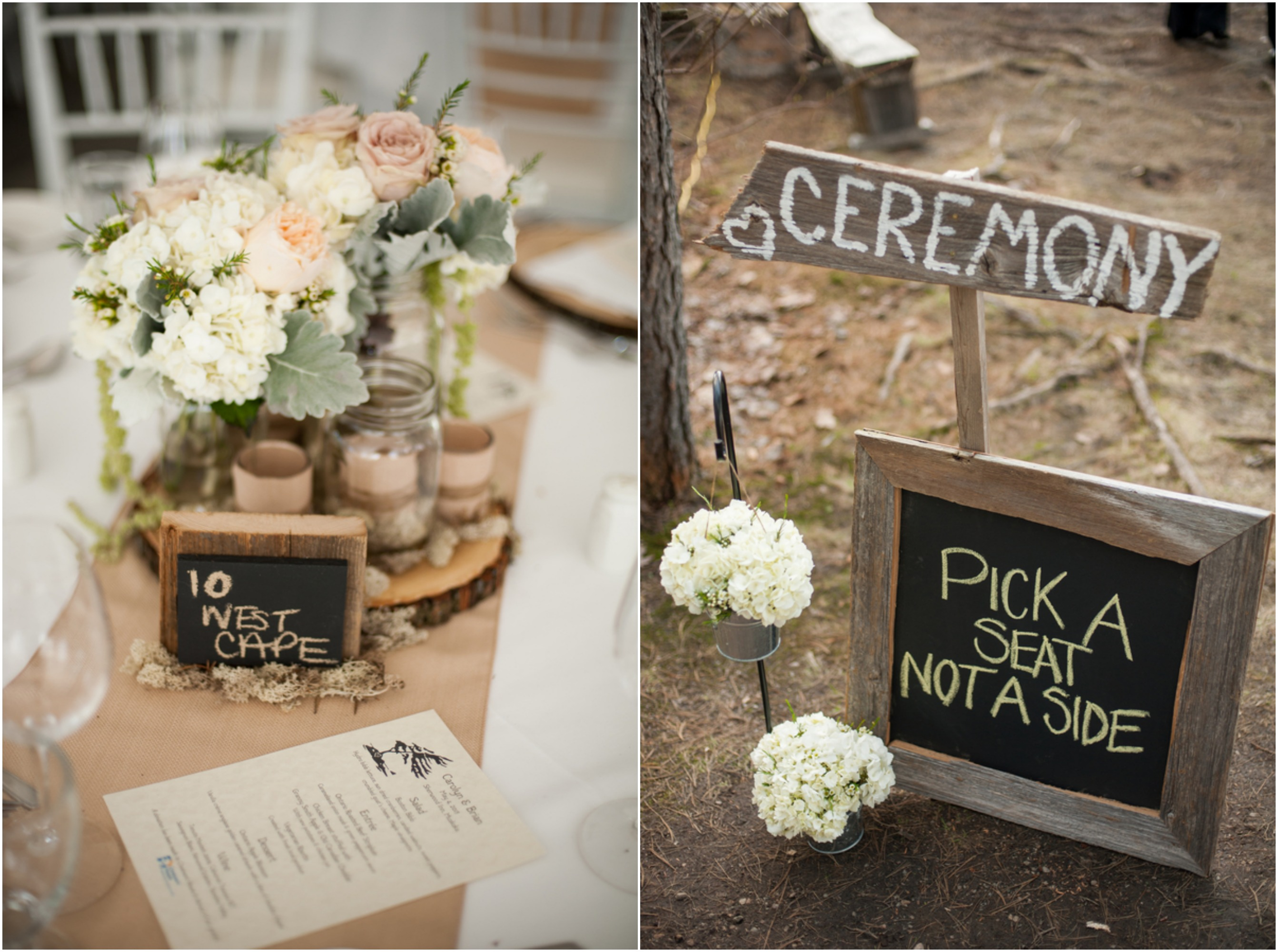 Eco friendly woodsy rustic wedding chic