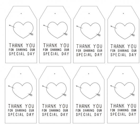 Wedding Thank You Gift Tags Template : ... Wedding Banner, Table Number & Favor Printables - Rustic Wedding Chic