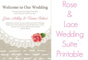 Lace & Rose Wedding Invitation Suite Printable