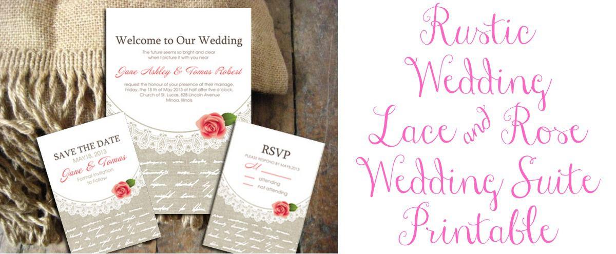 Rustic Wedding Invitation Suite Printable - Rustic Wedding Chic