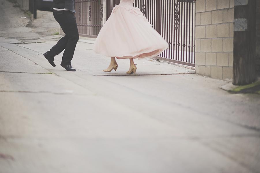 Bride & Groom Dancing in the Street