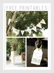 Rustic Wedding Banner, Table Number & Favor Printables