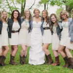 Bride and Bridesmaids In Jean Jackets