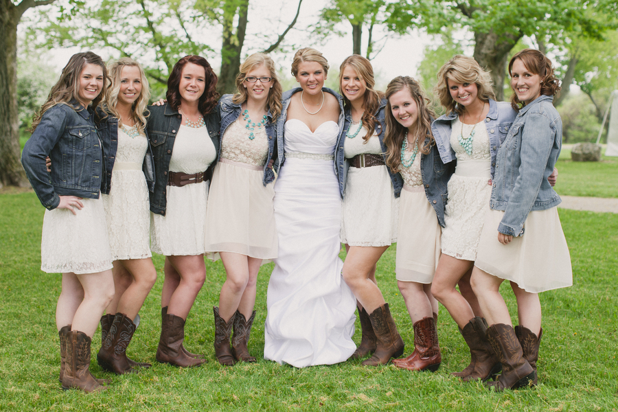 Turquoise bridesmaid dresses with cowboy boots