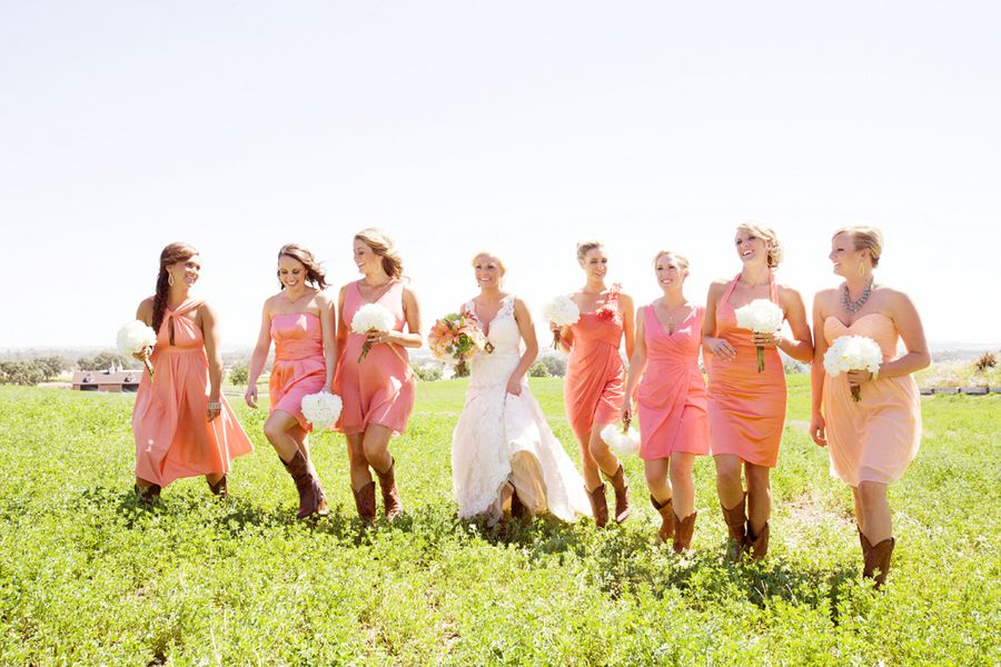 Country Bridesmaids In Boots