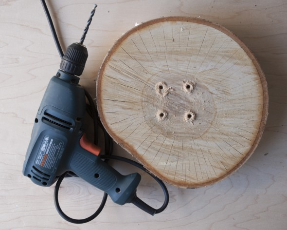 ... drill straight down into the wood so that the dowels stand straight