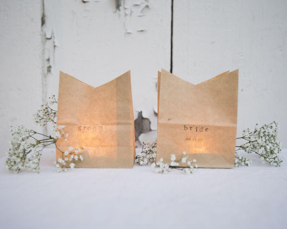 DIY Luminaria Place Cards - Rustic Wedding Chic