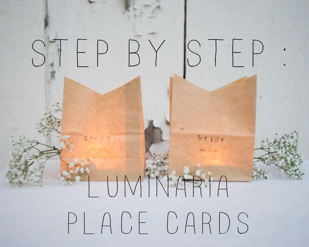 Diy Luminaria Place Cards Rustic Wedding Chic