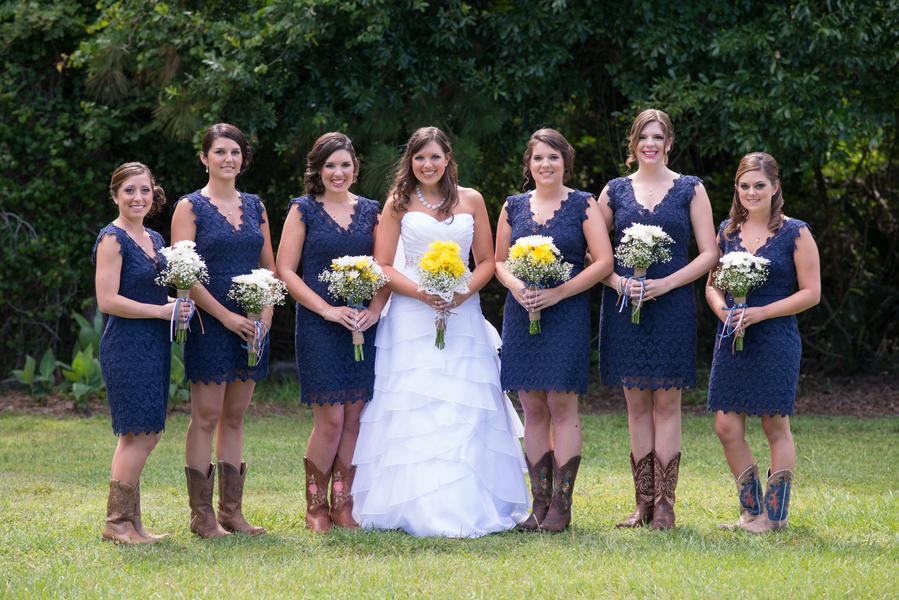 Navy Blue Bridesmaid Dresses With Cowboy Boots Florida Farm Wedding A...