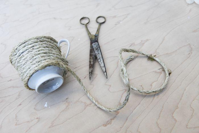 DIY Twine Wrapped Tea Cups