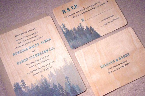 Real Wood Wedding Invitations: January Etsy Round-Up : Woodgrain Wedding Decor