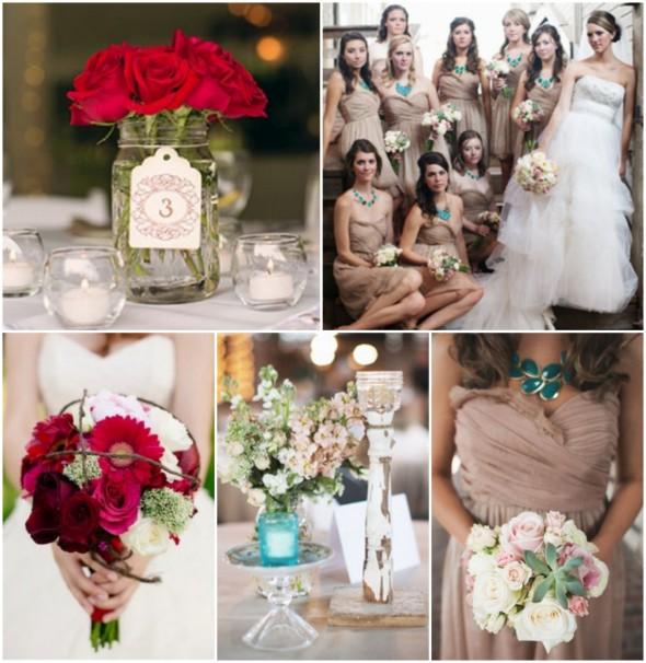 Chic White Wedding Theme: Blue, Red & Cream Wedding Color Inspiration