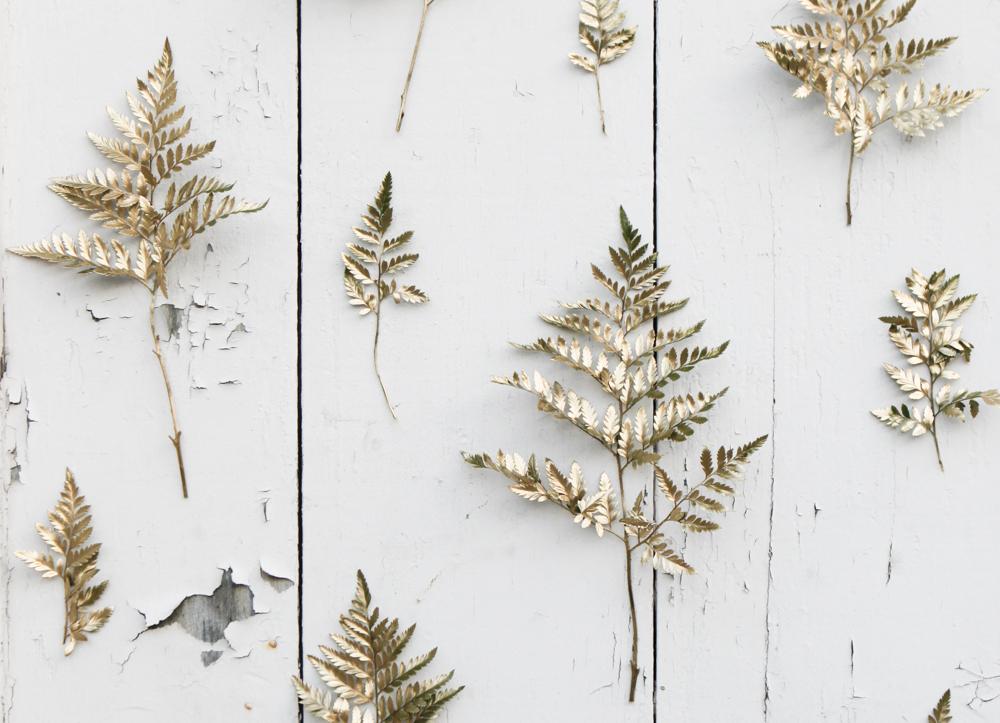 DIY Gold Sprig Rustic Wedding Backdrop