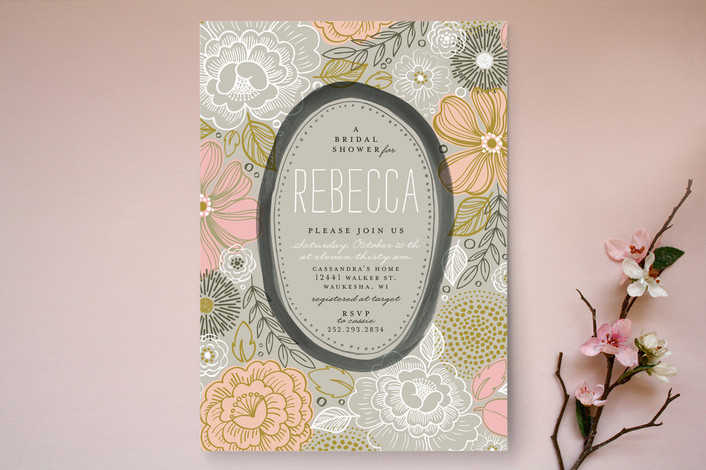 Floral inspired bridal shower invitations rustic wedding for Modern bridal shower invitations