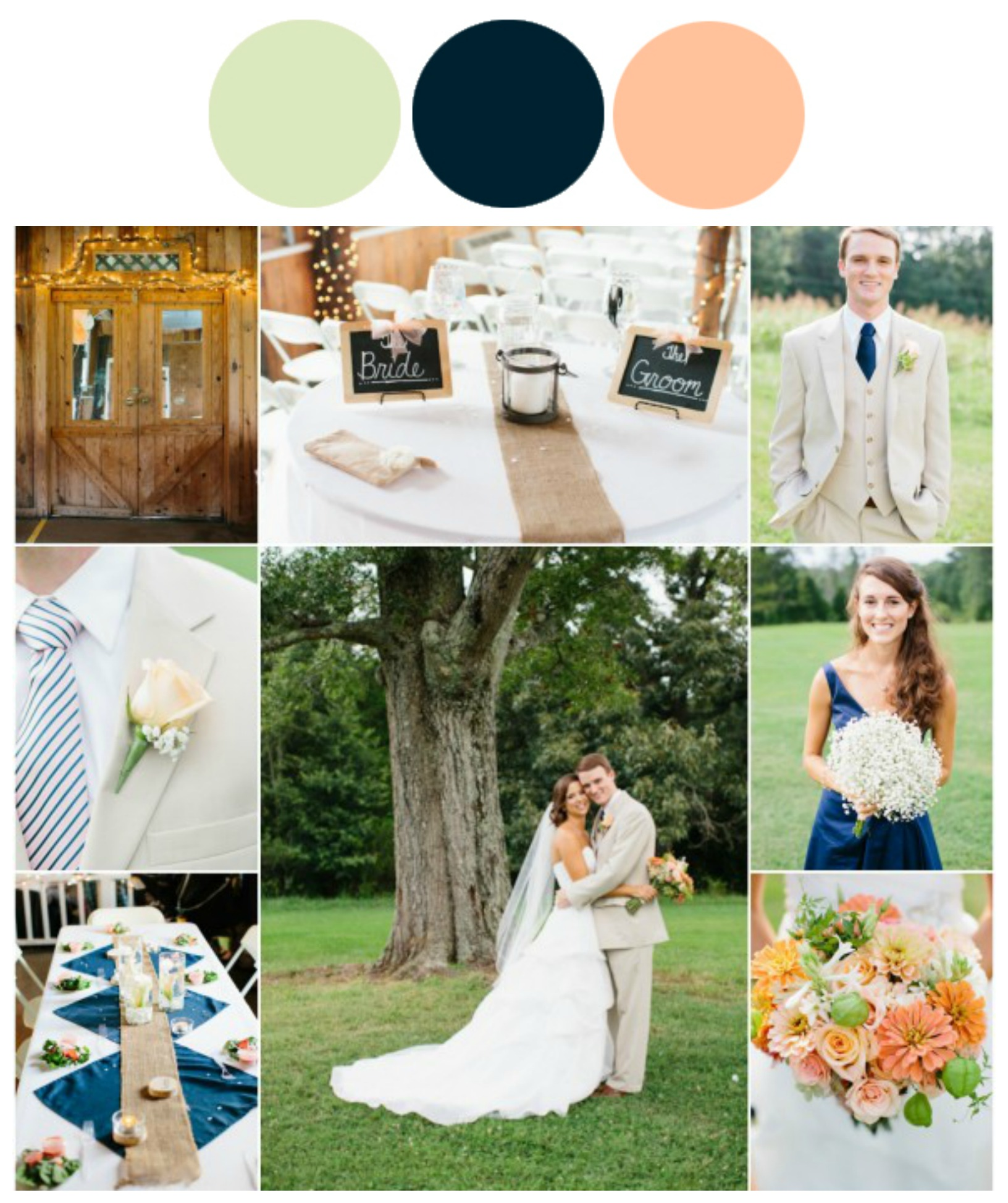 Rustic Wedding Color Ideas: Wedding Color Inspiration : Peach And Navy