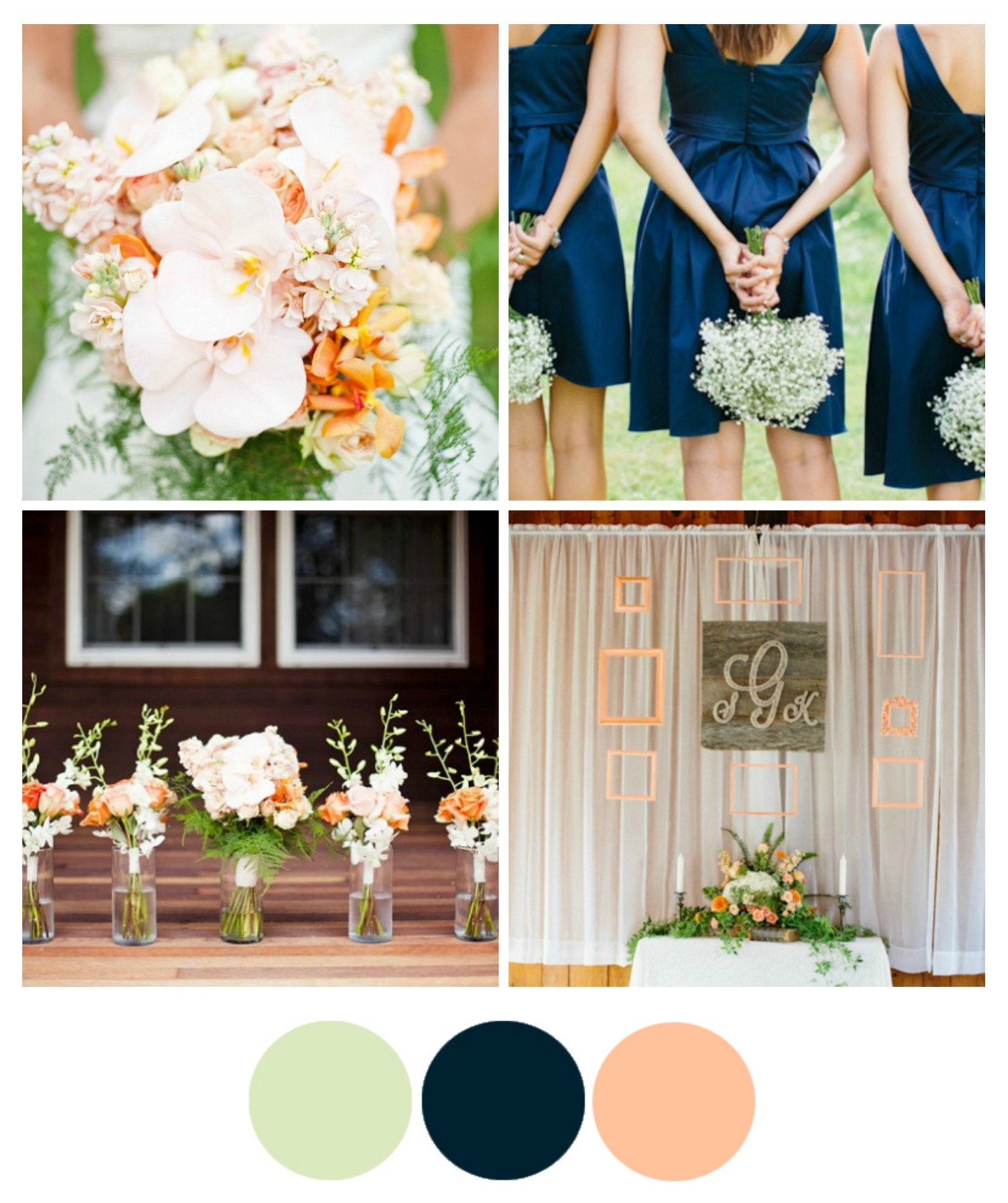 Wedding Ideas By Colour: Wedding Color Inspiration : Peach And Navy