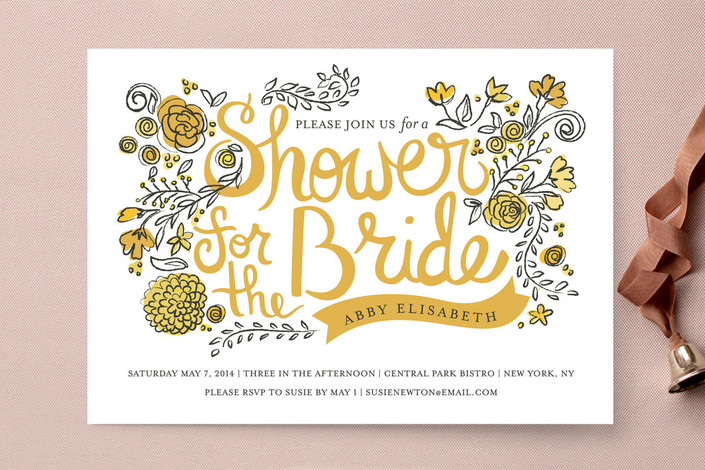 Floral Inspired Bridal Shower Invitations  Rustic Wedding Chic