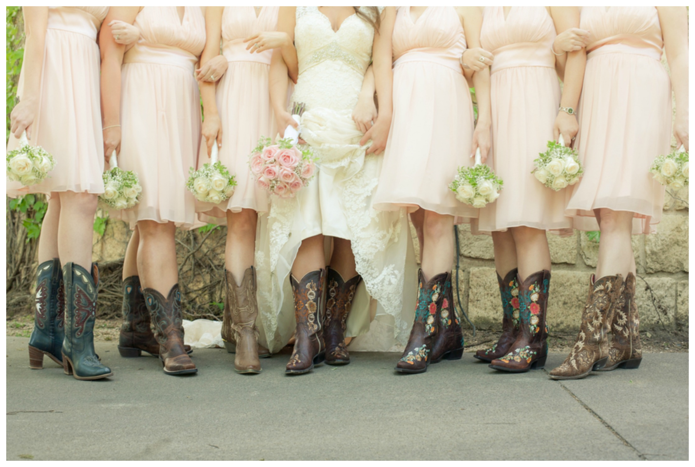 Rustic Wedding Bridesmaid Dress With Boots