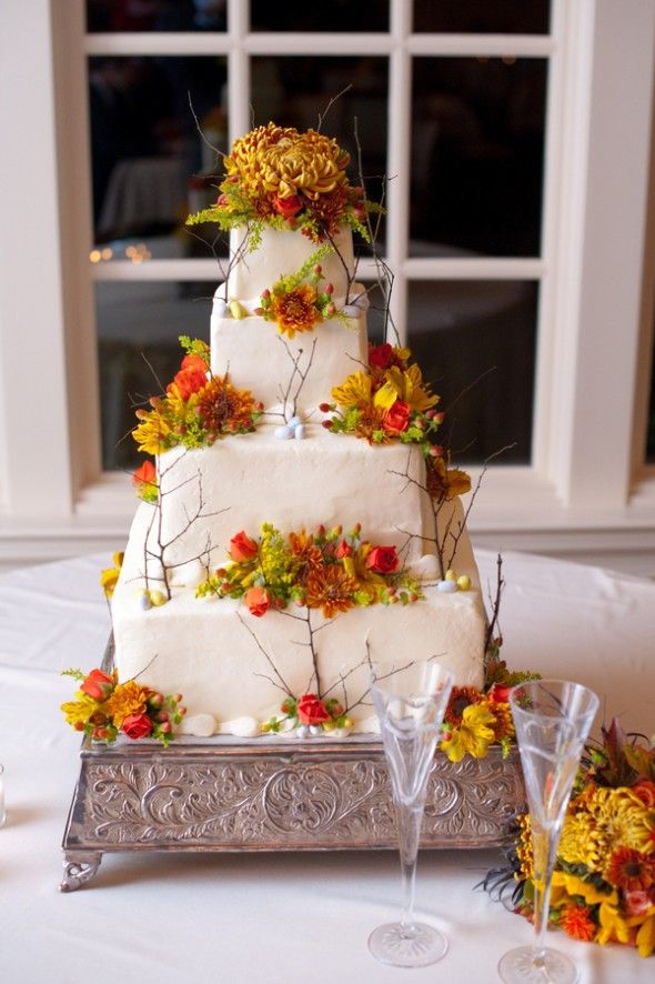 Rustic Fall Wedding Cake Our Favorite Floral Cakes Chic