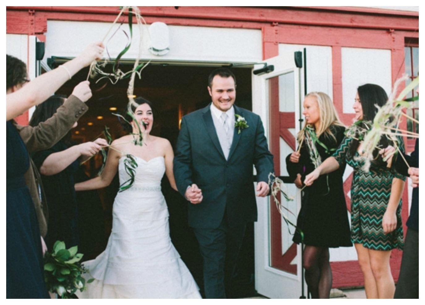 Modern Vintage Farm Wedding Sendoff with Ribbon Wands
