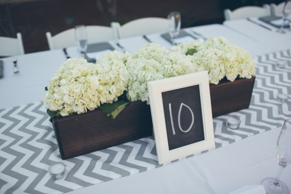 Chevron Table Runner At Wedding