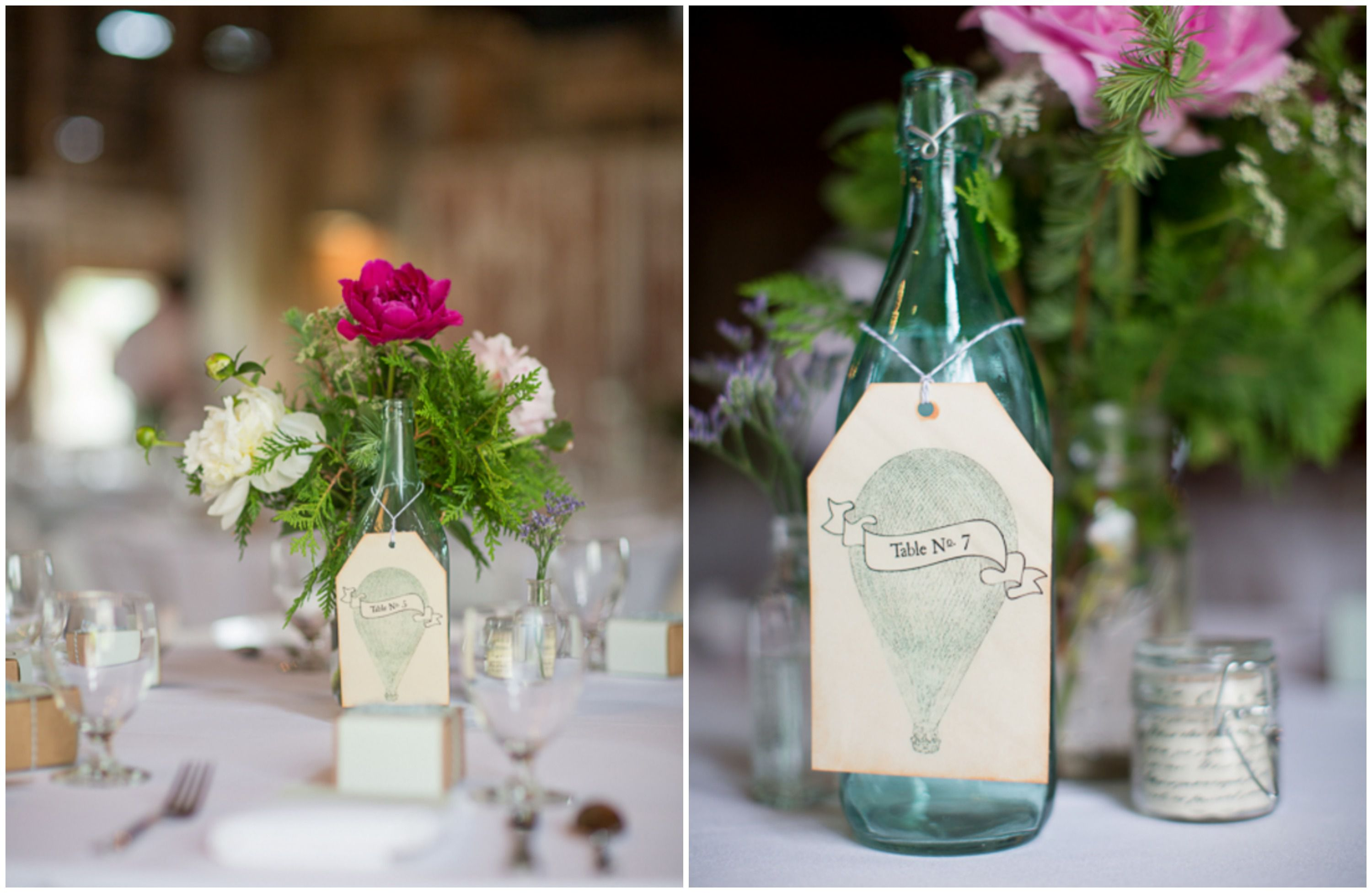 Barn Wedding Centerpiece And Table Numbers Details