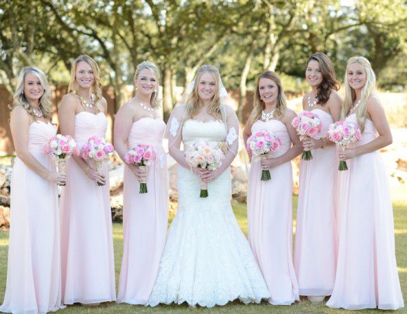 Elegant Texas Country Wedding Pink Bridesmaids Dresses and Bride