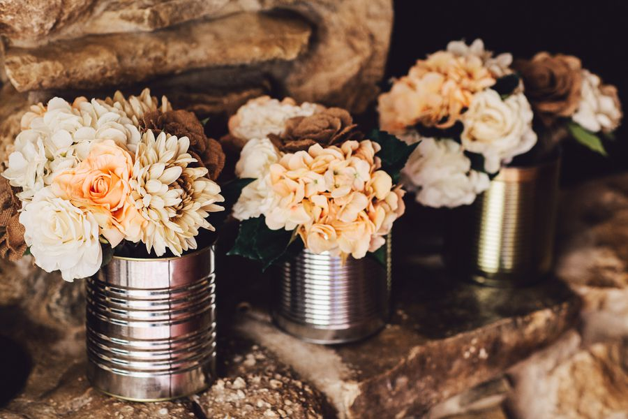 Wedding planned for under 7000 rustic wedding chic tin can wedding vases junglespirit Gallery