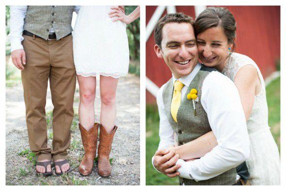Short Wedding Dress & Cowboy Boots