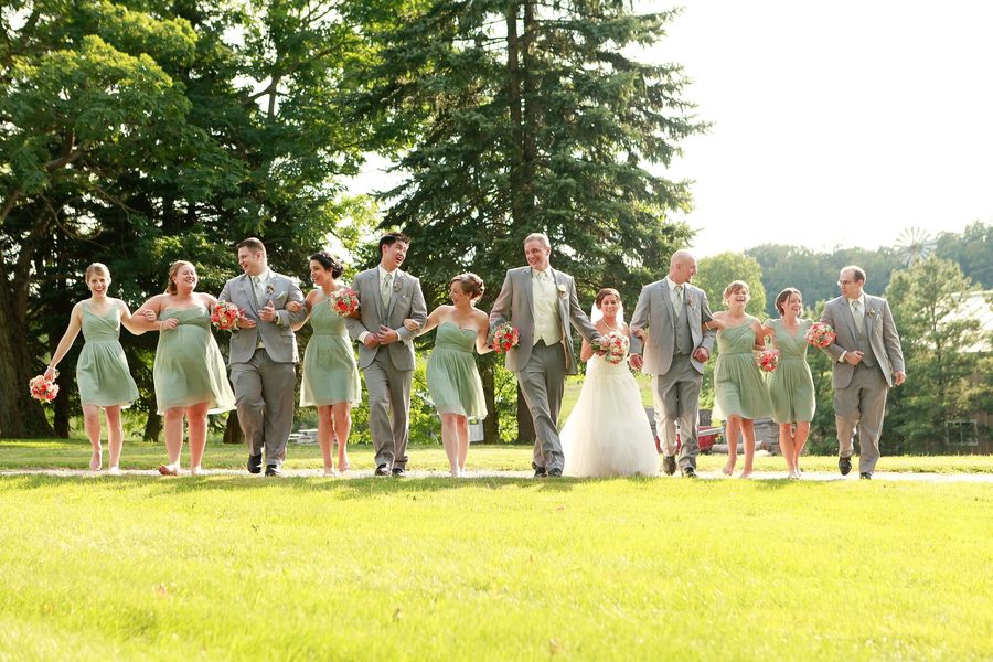 Country wedding party celebrating