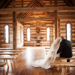 Country wedding chapel bride and groom