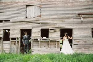 Rustic Vineyard Wedding Couple In Barn