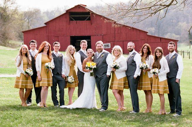 Yellow Gray Barn Wedding