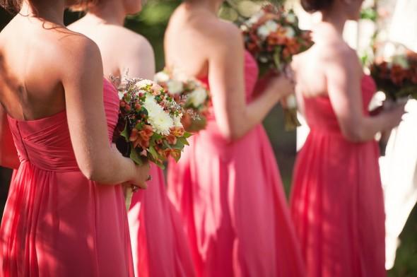 Bridesmaids Coral Dresses