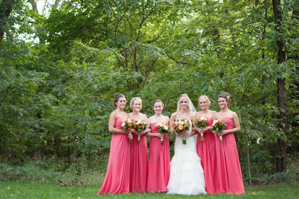 Bridesmaids Long Coral Dresses