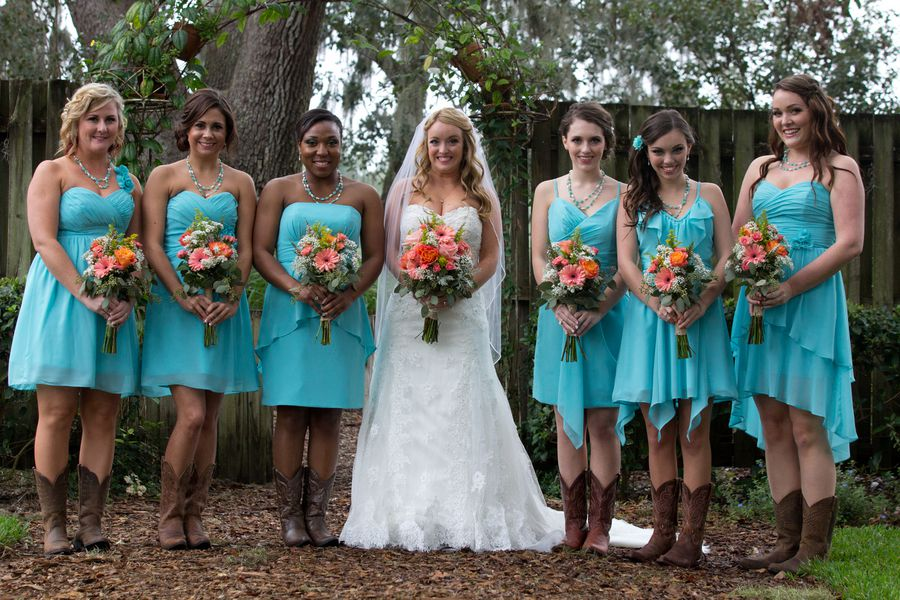 Country Wedding Couple Aisle Outdoor Florida Ceremony Light Blue Bridesmaid Dresses