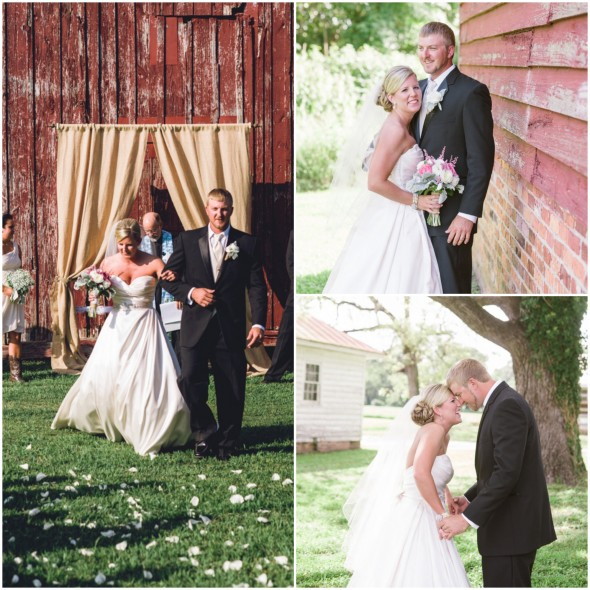 Country wedding ceremony bride + groom