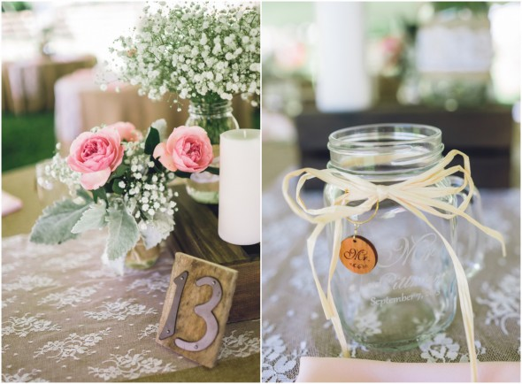 Country wedding outdoor reception table numbers and mason jar