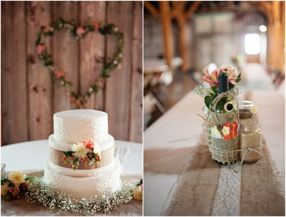 Farm Wedding Cake and Flowers