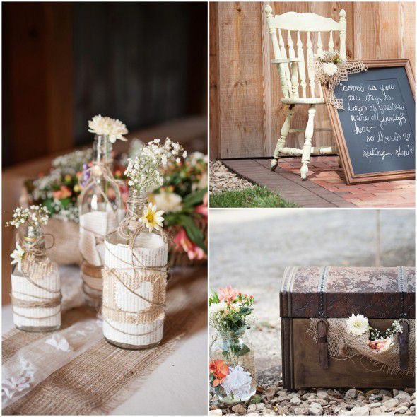 Farm Wedding Centerpieces and Flowers