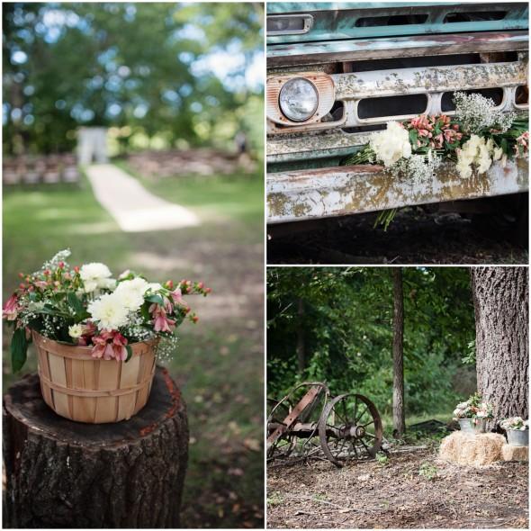 Farm Wedding Flowers and Truck