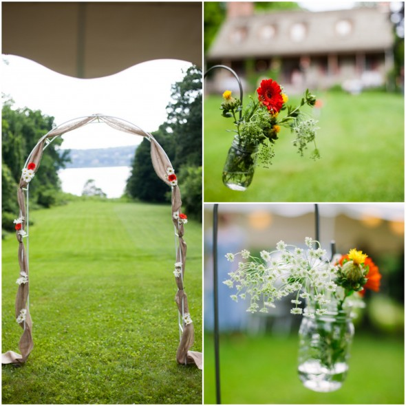 Hudson River Valley Outdoor Wedding Flowers and Setting