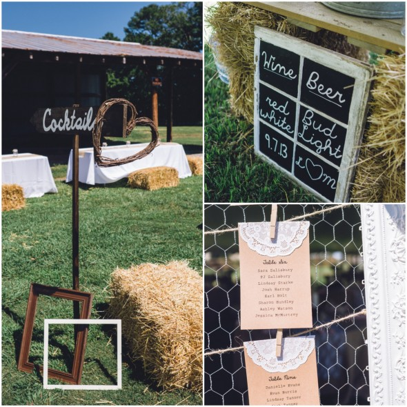 Outdoor country wedding signs and table numbers
