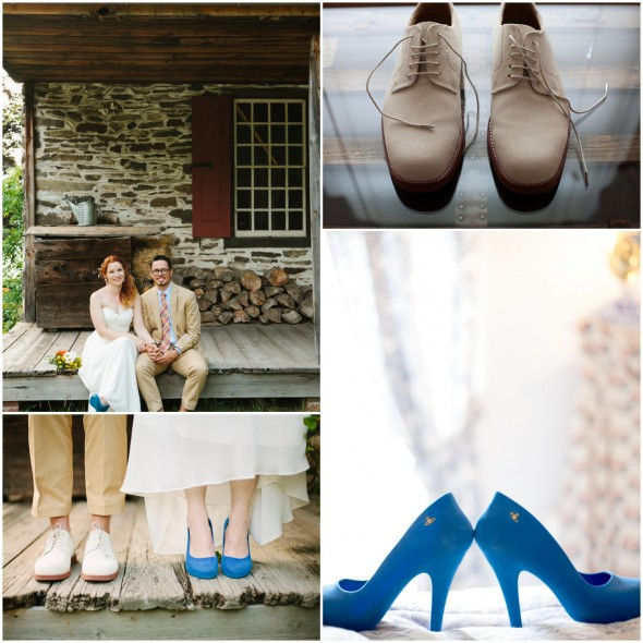 Rustic Wedding Brides Blue Shoes Grooms White Shoes