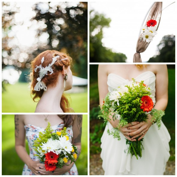 Rustic Wedding Bouquets and Hair Feathers