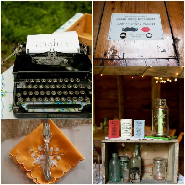 Hudson River Valley Wedding Reception Typewriter and Details
