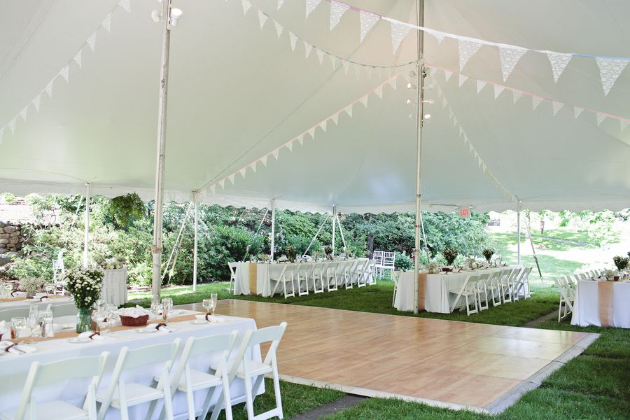 Garden Wedding Tent With Flags Reception