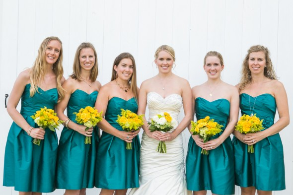 Country Bridesmaids Teal Dresses
